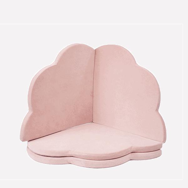 Mata podłogowa złożona - kwiatek - różowa velvet - 1