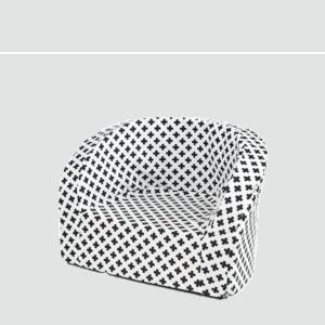 Fotel dziecięcy - biały w czarne plusy