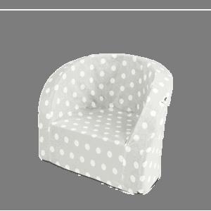 Fotel dziecięcy - szary w białe kropeczki