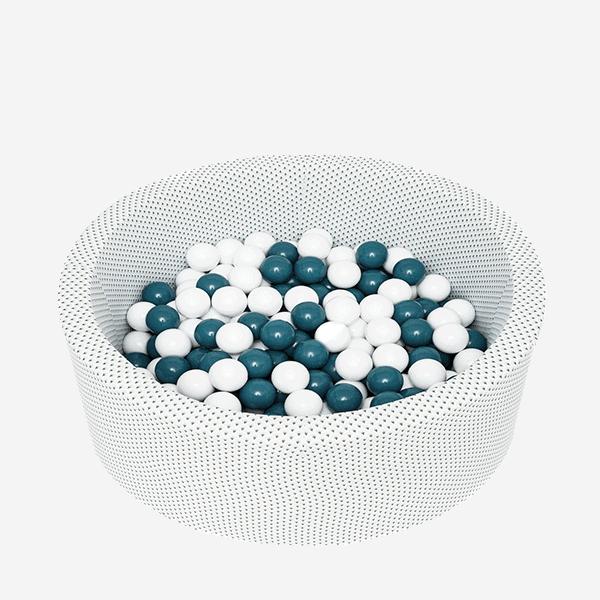 Suchy basen - okrągły - biały w szare kropeczki