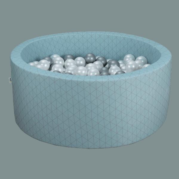 Suchy basen - okrągły - niebieski złoty wzór
