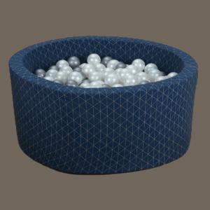Suchy basen - okrągły - granatowy złoty wzór