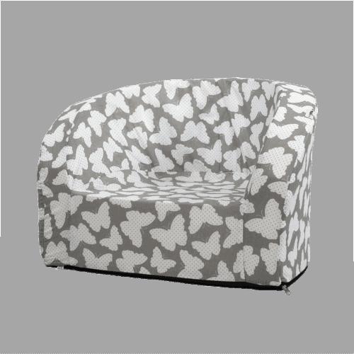fotel w białe motylki