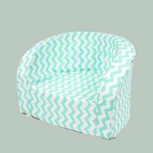 Fotel dziecięcy - biało-miętowy zygzag