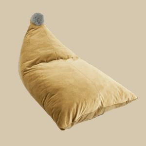 Pufa worek - złota z szarym pomponem