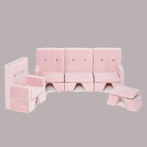 Fotel, sofa, podnóżek - różowy - velvet