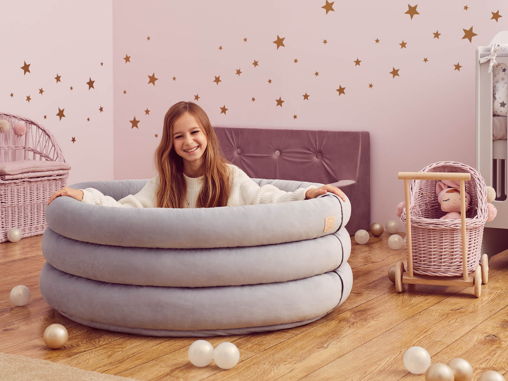 Basenik Comfort+ – Okrągły, Szary