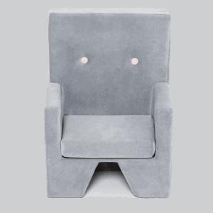Szary fotelik premium - szary velvet