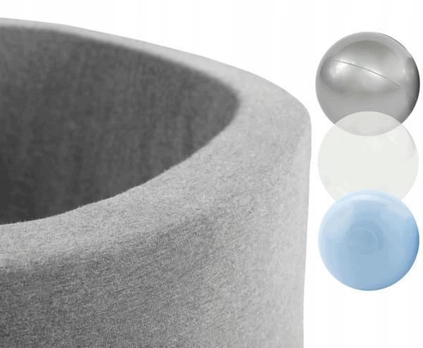 Piłeczki - srebrna, przezroczysta biała, niebieska - zestaw