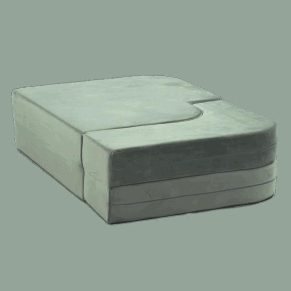Sofa rozkładana - wygląd po złożeniu - szara velvet