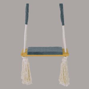 Huśtawka prosta - ciemnoszare siedzisko - jasna deska - zbliżenie