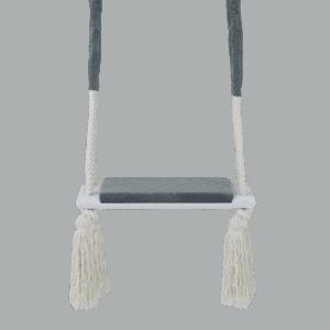 Huśtawka prosta - ciemnoszare siedzisko - biała deska - zbliżenie
