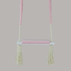 Huśtawka prosta - różowe siedzisko - biała deska - zbliżenie