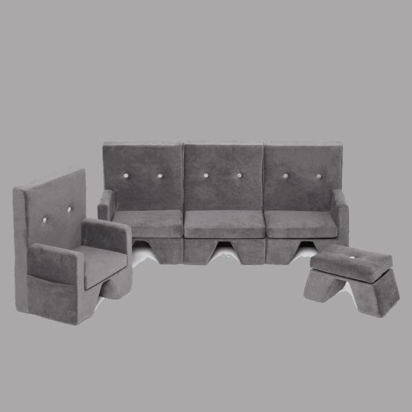 Fotel, sofa, podnóżek - szary - velvet